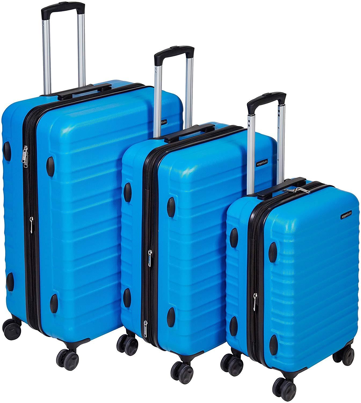 AmazonBasics Valise de voyage à roulettes pivotantes, Bleu clair, Lot de 3 valises (55 cm, 68 cm, 78 cm)